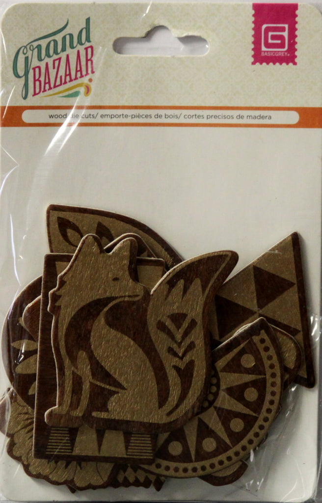 Basic Grey Grand Bazaar Wood Die-Cut Shapes Embellishments