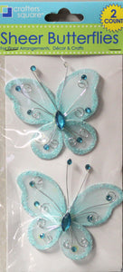 Crafters Square Azur Blue Jem Butterfly Embellishments