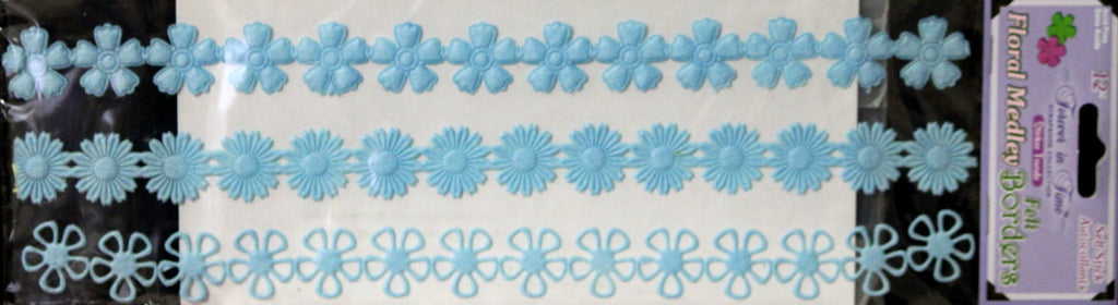 Forever In Time Pale Blue Floral Medley Felt Borders Stickers - SCRAPBOOKFARE