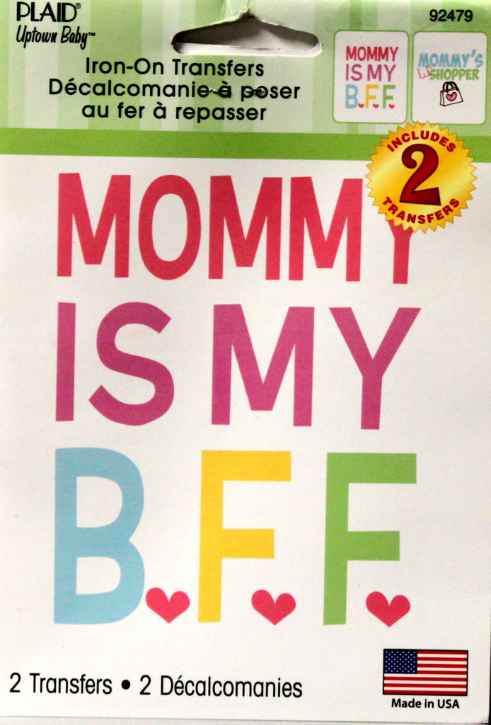 "Plaid Uptown Baby ""Mommy Is My B.F.F."" Iron-On Transfers"