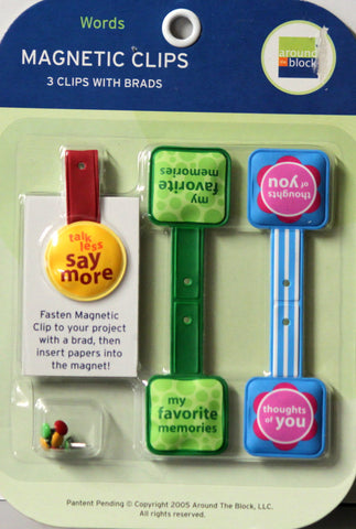 Around The Block Words Magnetic Clips