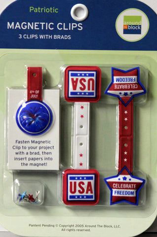 Around The Block Patriotic Magnetic Clips