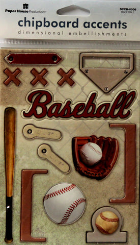 Paper House Baseball Dimensional Chipboard Accents Die-Cut Embellishments