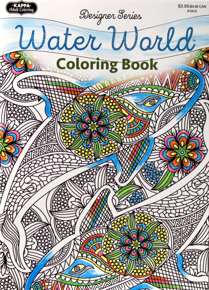 Kappa books publishers designer series water world adult coloring book