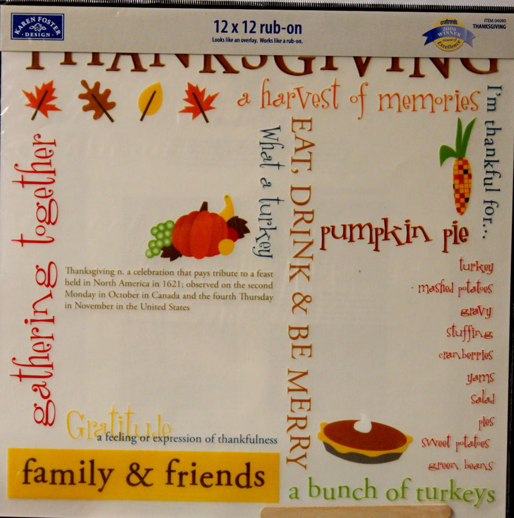 "Karen Foster Design Thanksgiving 12"" x 12"" Rub-On Overlay - SCRAPBOOKFARE"