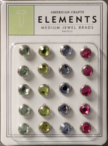 American Crafts Elements Medium Jewel Pastel Brads Embellishments Set