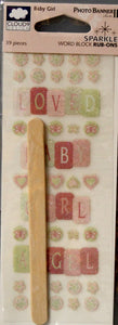 Cloud 9 Design Baby Girl Sparkle Word Block Rub-Ons Transfers - SCRAPBOOKFARE