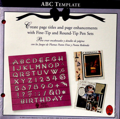 Creative Memories Plantilla ABC Template Stencil