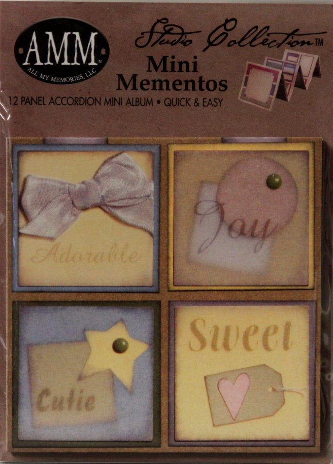 All My Memories Studio Collection Mini Mementos Baby Boy 12 Panel Accordion Mini Album