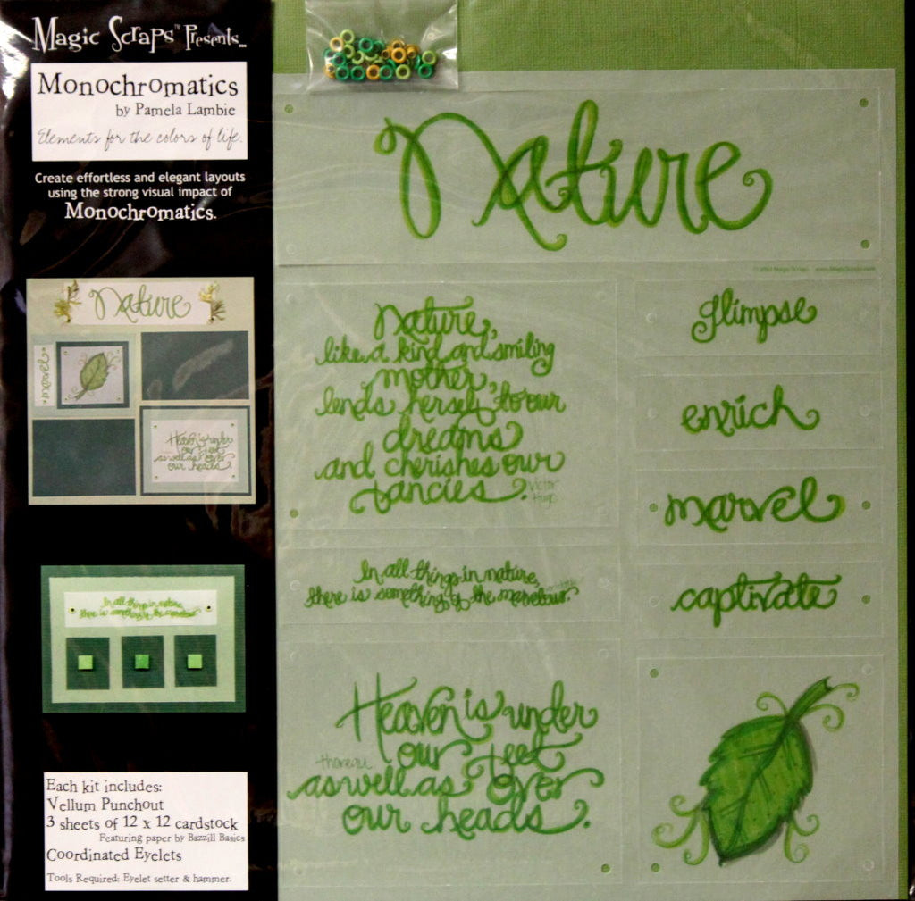 Magic Scraps 12 X 12 Monochromatics Nature Scrapbook Page Kit - SCRAPBOOKFARE