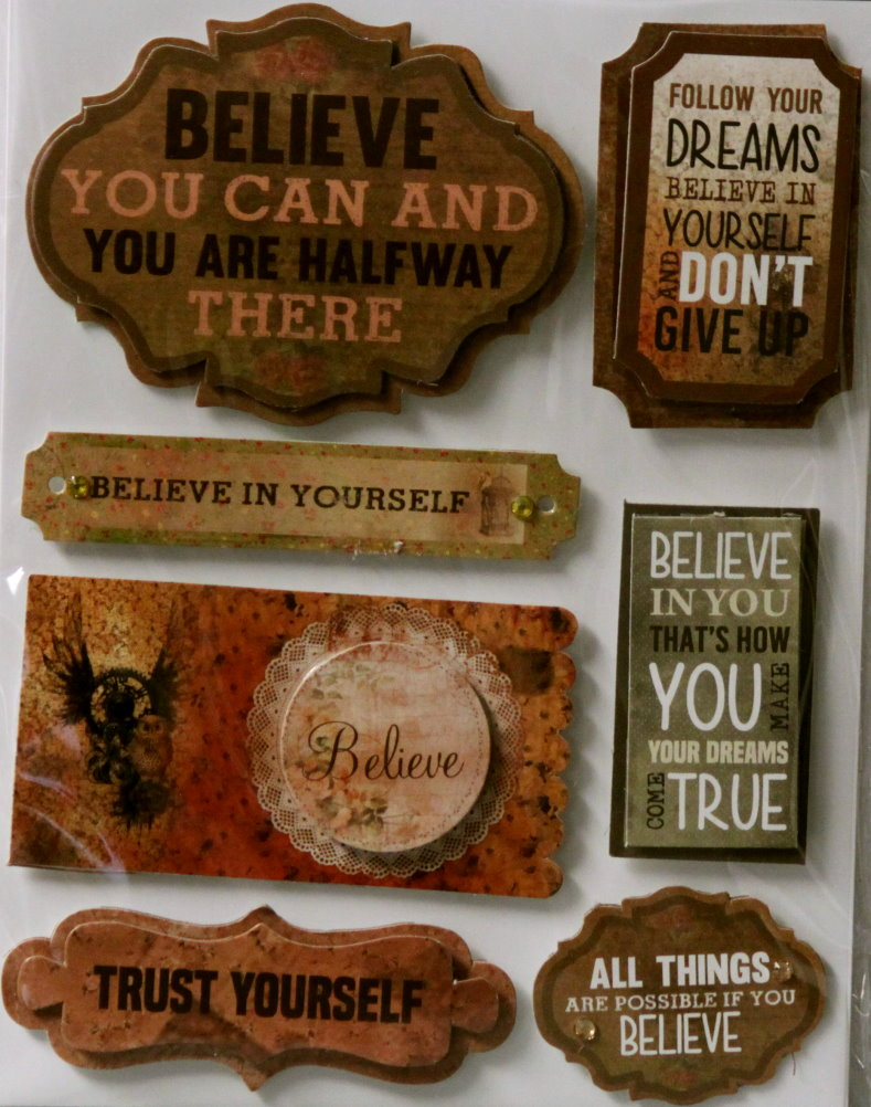 Believe Dimensional Embellishment Stickers