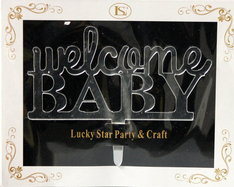 Welcome Baby Mirrored Acrylic Cake Topper