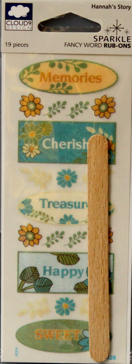 Cloud 9 Design Hannah's Story Sparkle Words Rub-Ons Transfers - SCRAPBOOKFARE