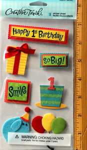 Creative Touch Happy 1st Birthday Dimensional Stickers