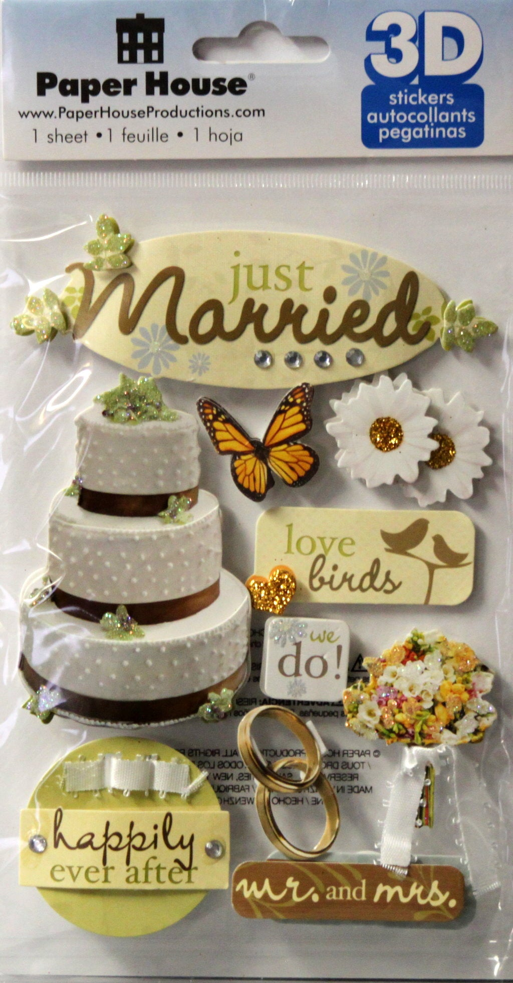 Paper House 3D Dimensional Just Married Stickers