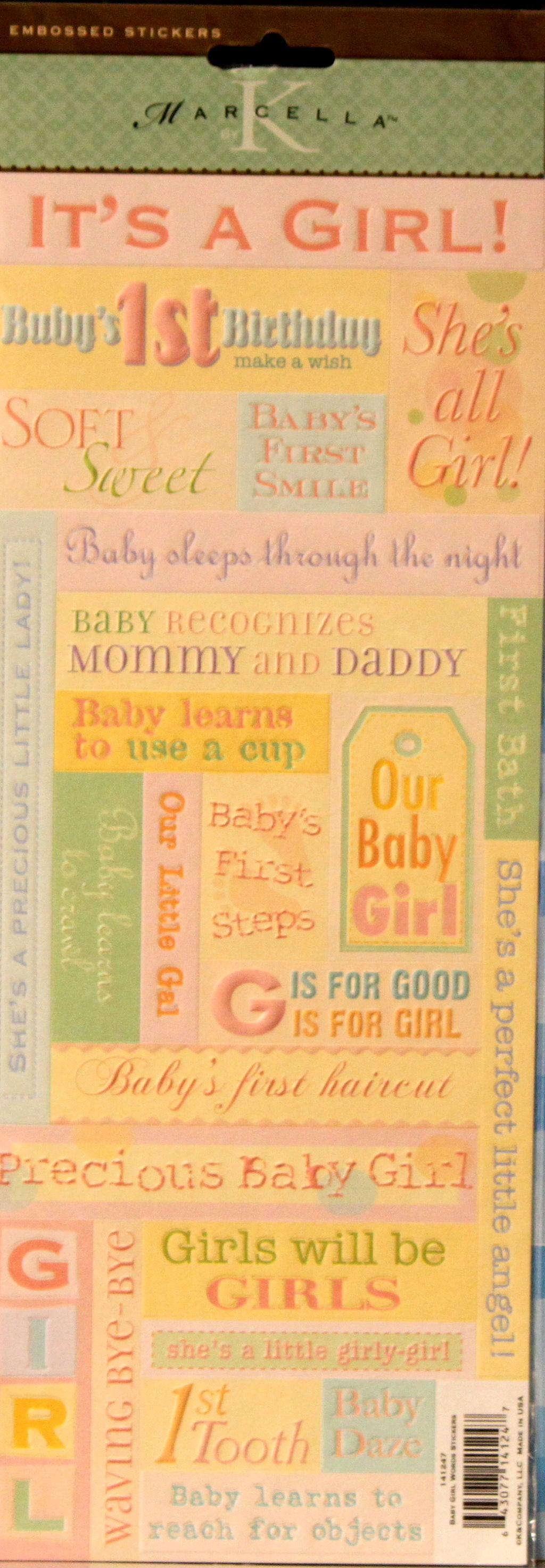 K & Company Marcella K Baby Girl Words Embossed Stickers