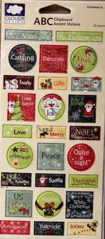 Cloud 9 Design Christmas Is... Chipboard Accent Stickers