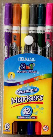 Bazic 2 in 1 Double-Sided Washable Markers Set