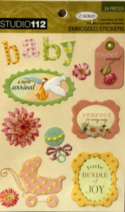 K & Company Studio 112 Floral Baby Embossed Glittered Scrapbook Stickers