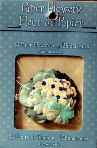 Studio 18 Shades Of Blue Paper Flowers With Rhinestones Embellishments