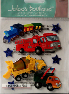 Jolee's Boutique Trucks And Trains Dimensional Stickers