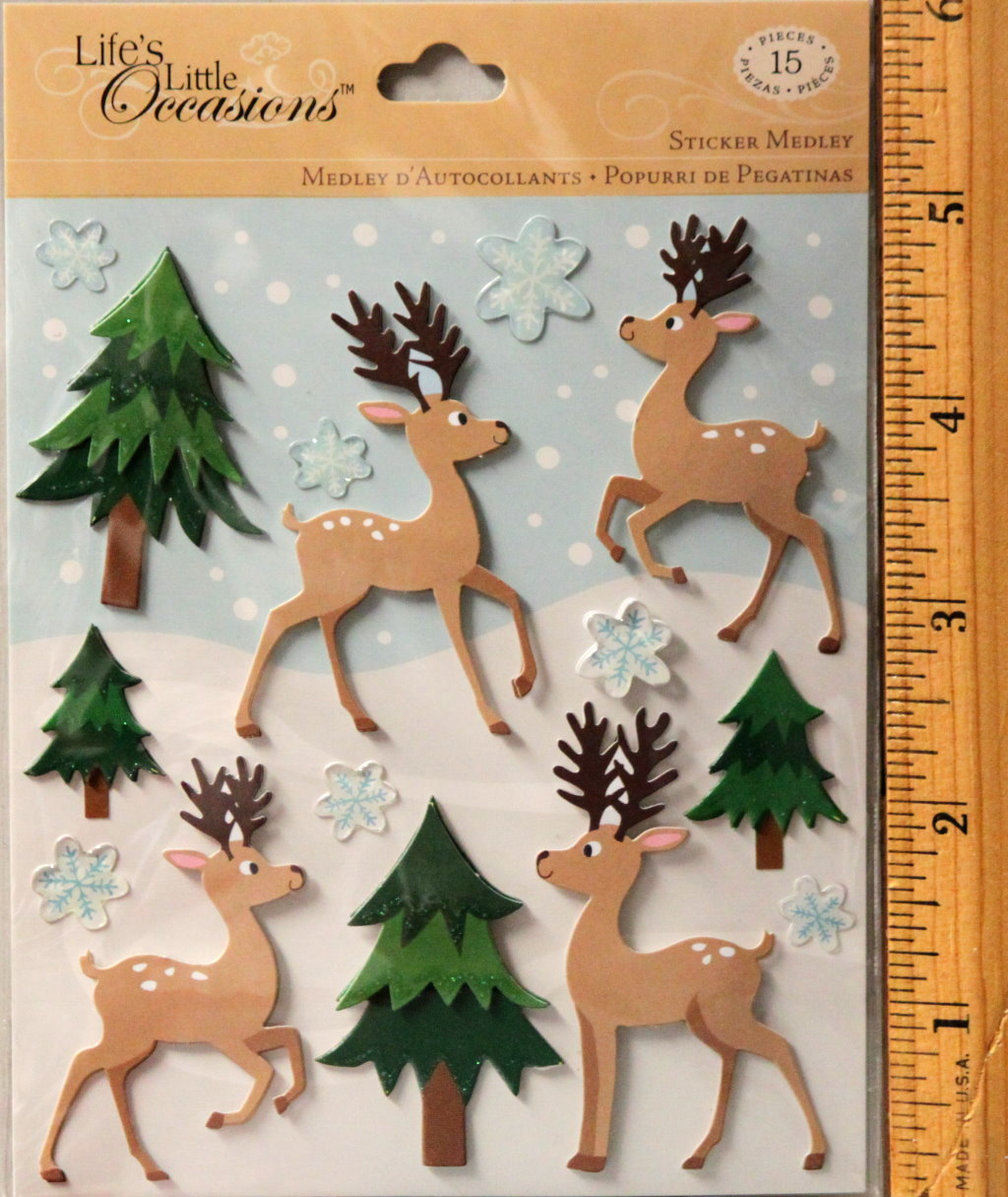 K & Company Life's Little Occasions Reindeer & Trees Dimensional Stickers Medley
