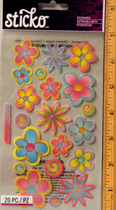 Sticko Vellum Flowers Metallic Stickers
