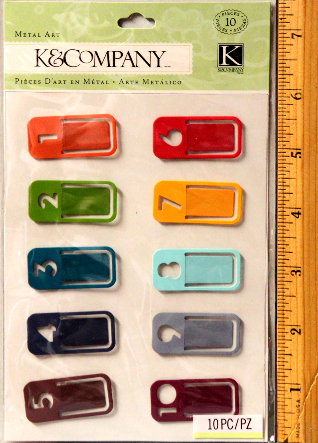 K & Company Travel Number Clips Metal Art Embellishments
