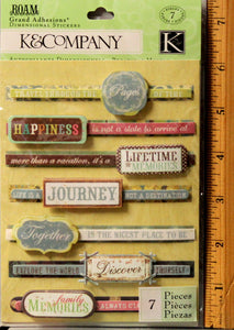 K & Company Roam Sentiments Grand Adhesions Dimensional Stickers