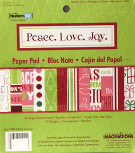Creative Imaginations Alison Wong Studio Basics 101 Peace.Love.Joy. 6x6 Scrapbook Paper Pad