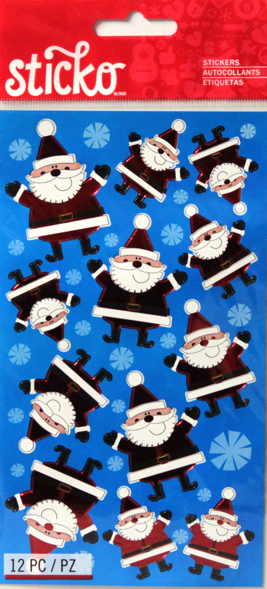 Sticko Silly Santa Foil Christmas Stickers