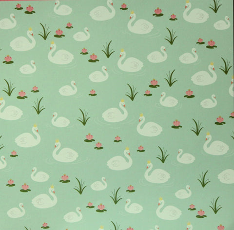 Pebbles 12 x 12 Spring Swan Lake Scrapbook Paper