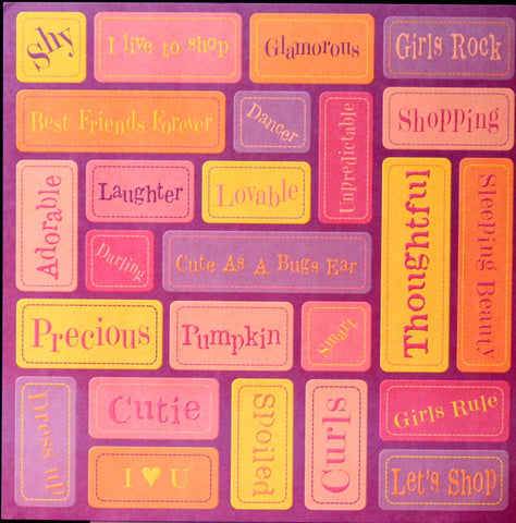K & Company Tim Coffey 12 x 12 Young Girl Words Embossed Printed Scrapbook Paper - SCRAPBOOKFARE