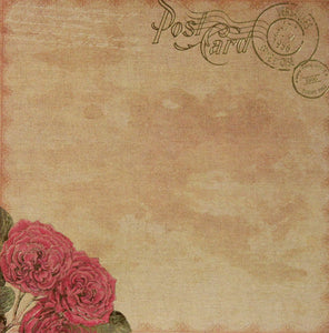 Recollections 12 x 12 English Rose Garden Gold Metallic Post Card Scrapbook Paper