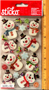 Sticko Colorful Snowmen Dimensional Stickers