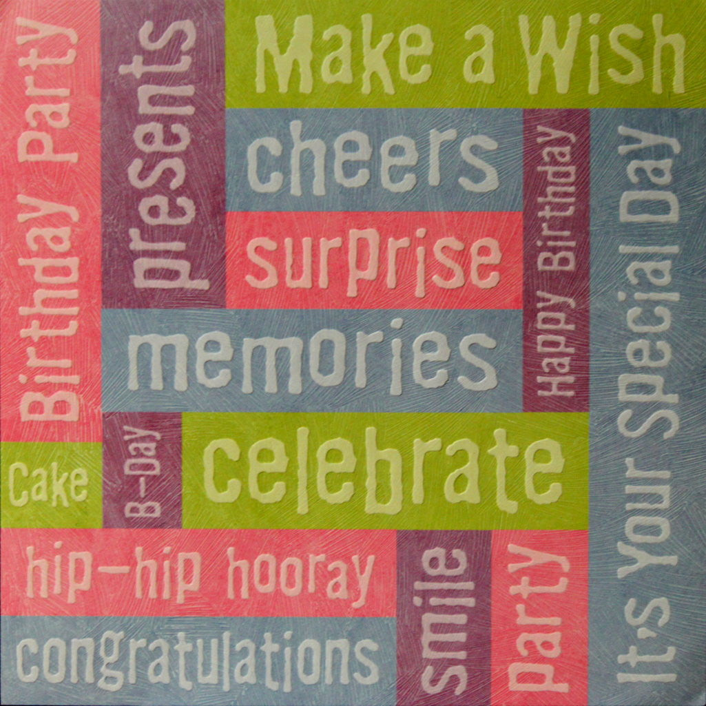 K & Company Tim Coffey 12 x 12 Birthday Words Embossed Printed Scrapbook Paper - SCRAPBOOKFARE