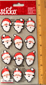 Sticko Santa Heads Dimensional Stickers