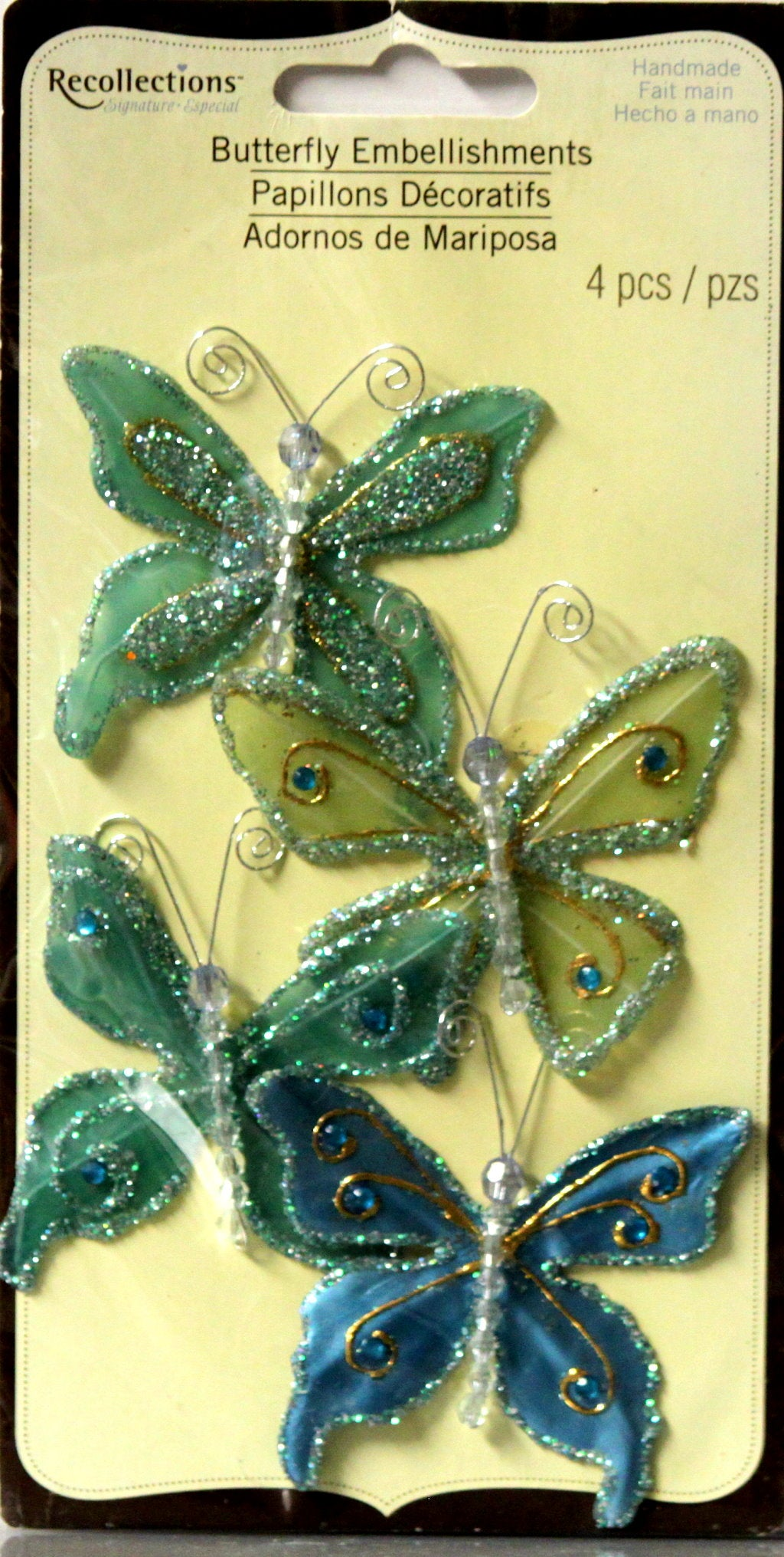 Recollections Butterfly Shades of Blue/Green Embellishments