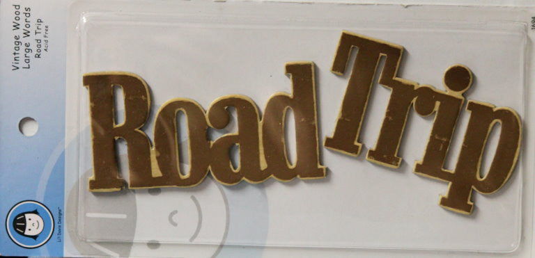 Li'l Davis Designs Vintage Wood Large Words Road Trip Embellishments - SCRAPBOOKFARE