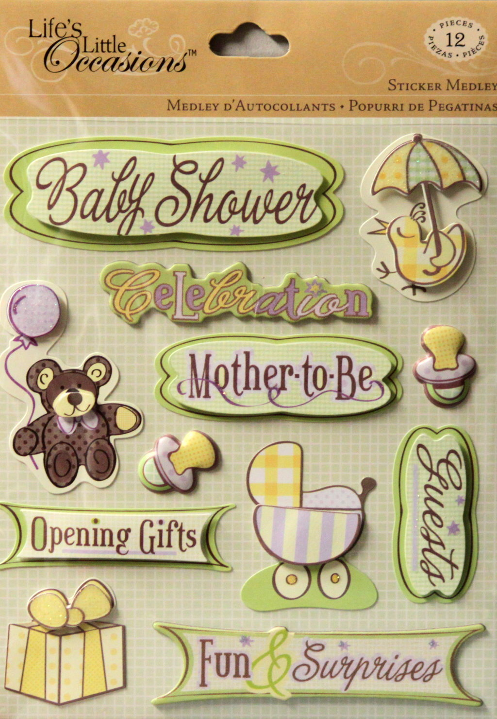 K & Company Life's Little Occasions Baby Shower Dimensional Stickers Medley