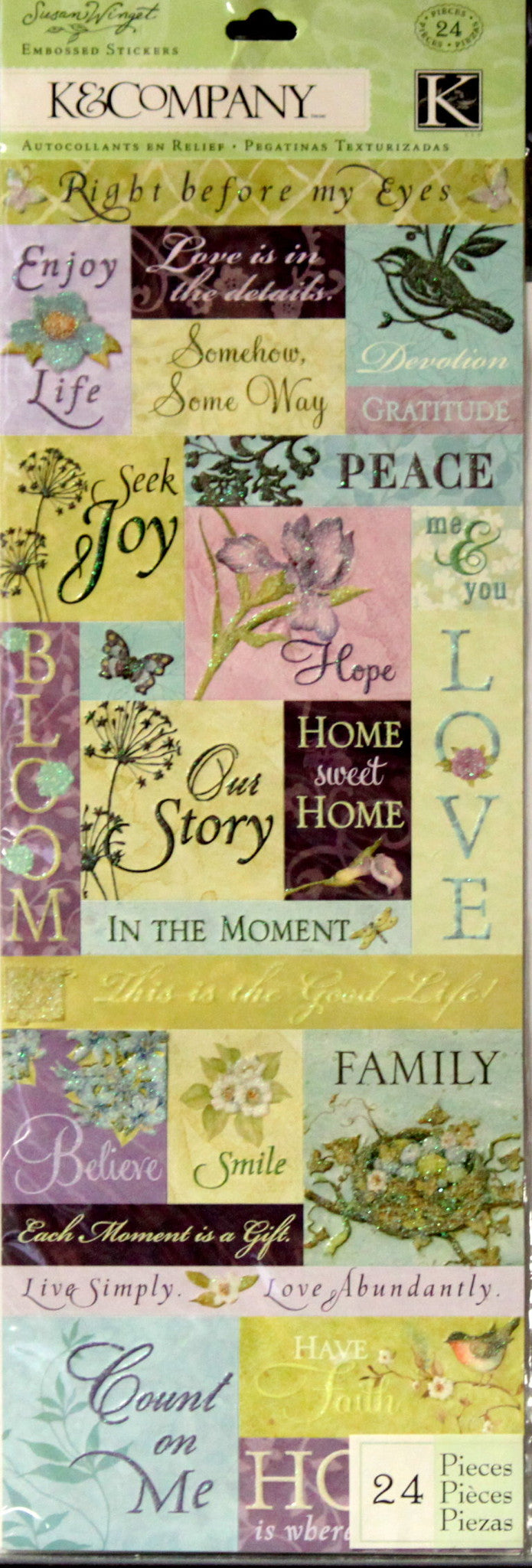 K & Company Susan Winget Botanical Words & Phrases Embossed & Glittered Stickers - SCRAPBOOKFARE