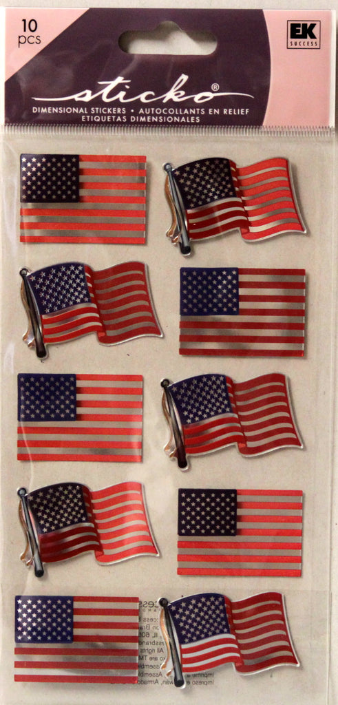 Sticko Metallic American Flag Repeats Dimensional Stickers