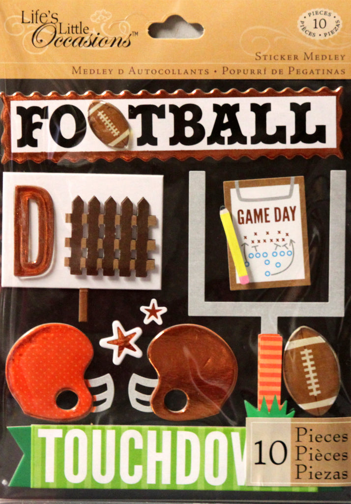 K & Company Life's Little Occasions Orange Football Dimensional Stickers Medley
