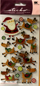 Sticko Santa And His Reindeer Dimensional Stickers