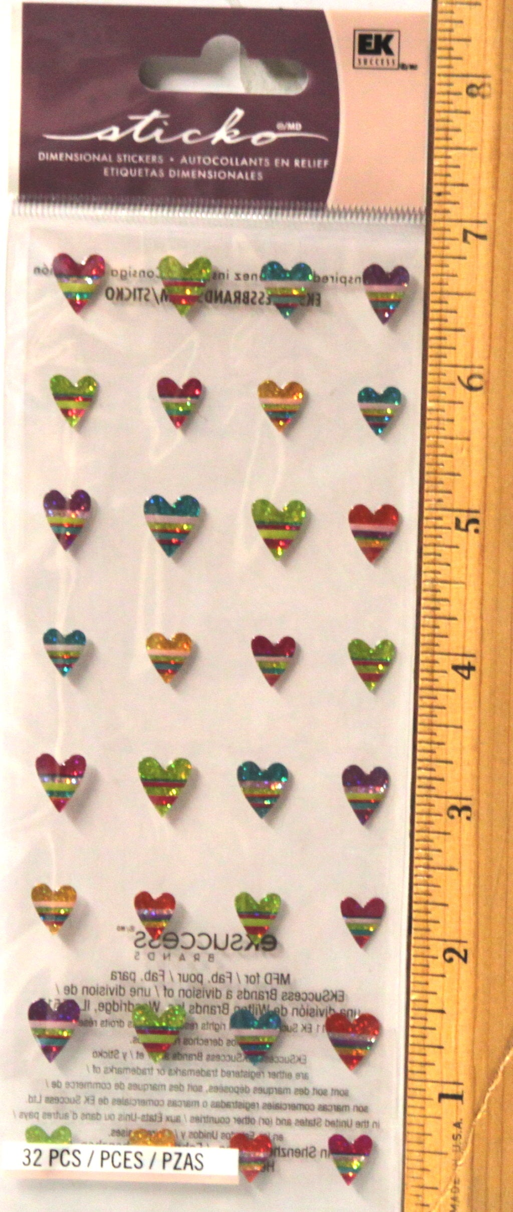 Sticko Candy Stripe Hearts Dimensional Epoxy Stickers
