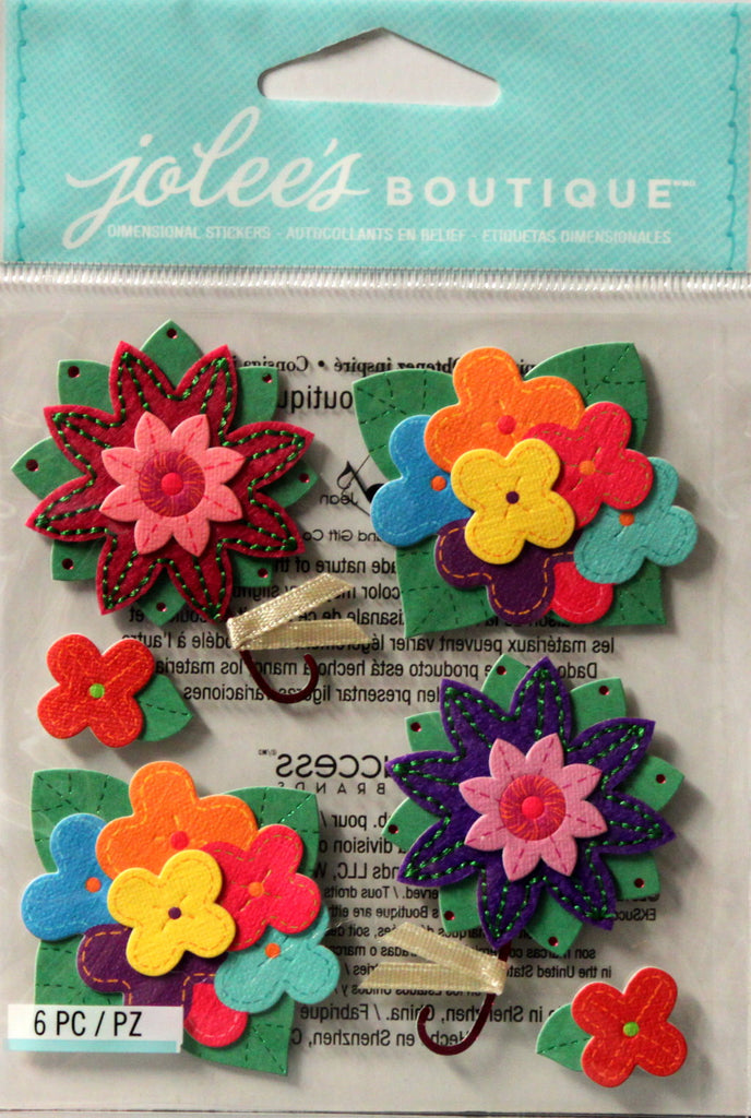 Jolee's Boutique Colorful Stitched Flowers Embellishment Stickers