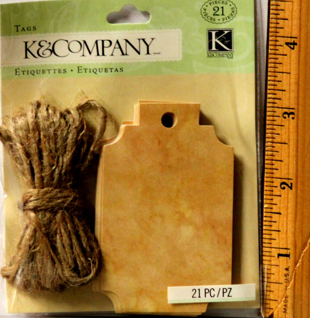 K & Company Distressed Brown Tags Embellishments