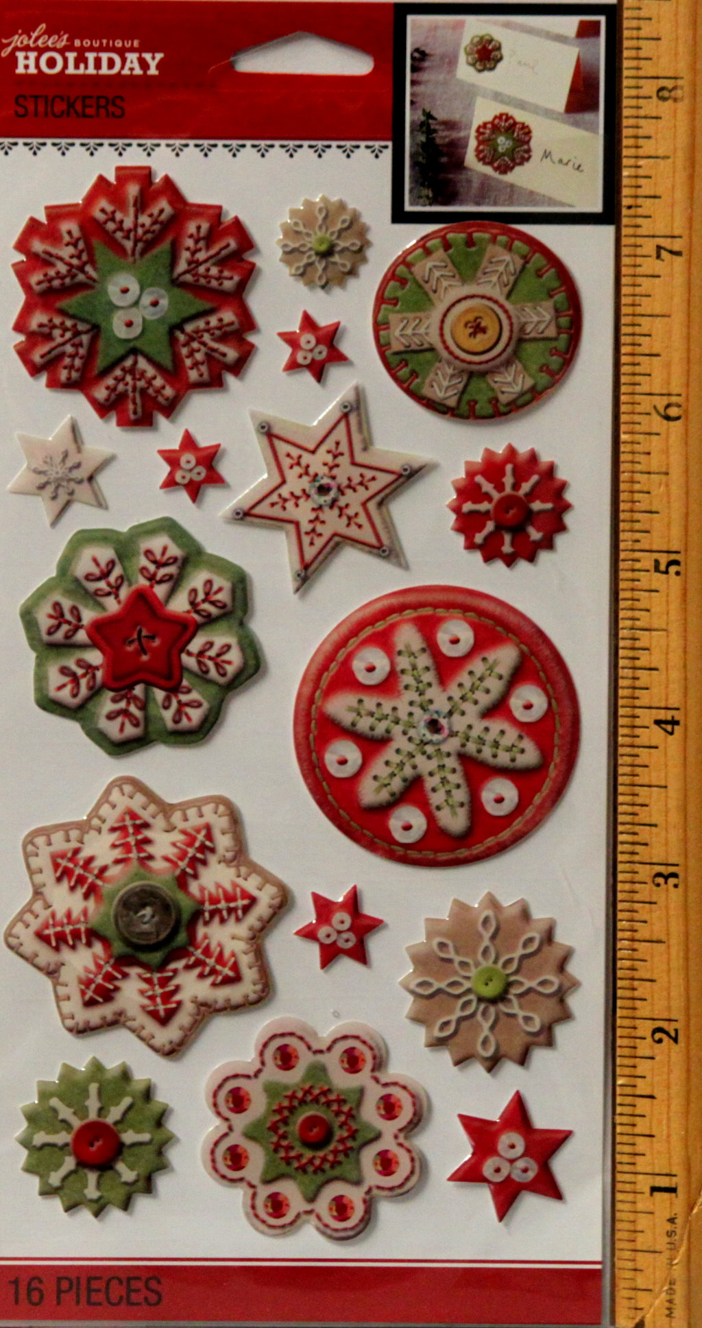 Jolee's Boutique Holiday Snowflake Epoxy Dimensional Stickers Embellishments