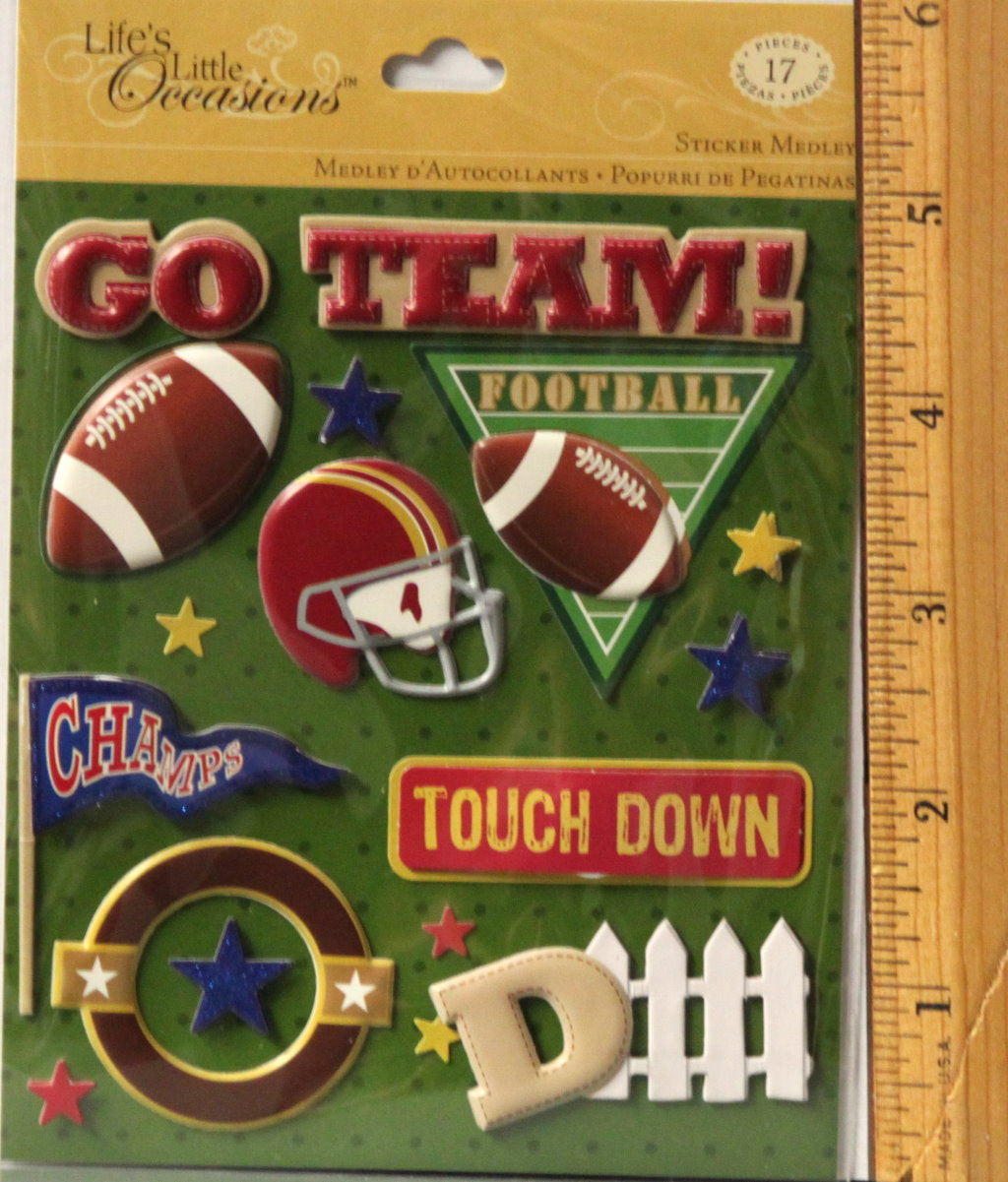 K & Company Life's Little Occasions Football Dimensional Sticker Medley