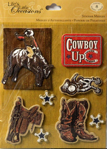 K & Company Life's Little Occasions Cowboys Dimensional Sticker Medley